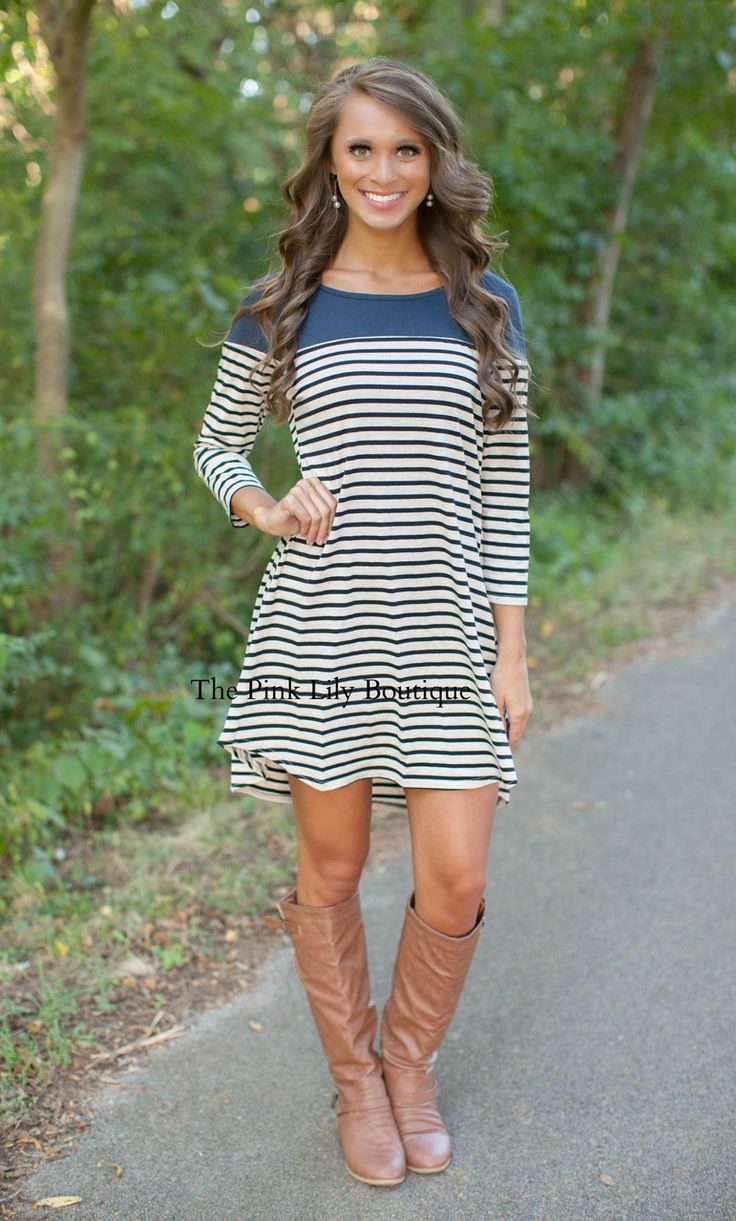 The Pink Lily Boutique - Class Of Stripe Navy Stripe Dress , $38.00 (http://thepinklilyboutique.com/class-of-stripe-navy-stripe-dress/)