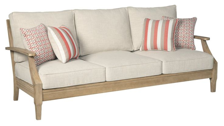 Anguiano Patio Sofa with Cushions | Cushions on sofa ... on Clare View Beige Outdoor Living Room id=45899