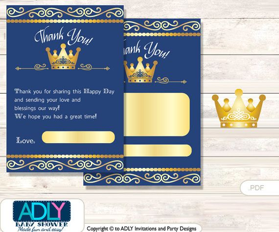 Prince Royal Thank You Card Printable For Baby Prince Shower Or Birthday  DIY Gold , Blue   Ao107bs22