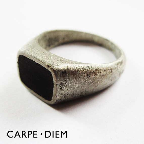 Mens Signet Ring Antique Oxidized Black by carpediemjewellery via Etsy