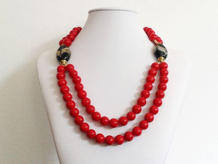 Giada - collana due fili di perle di giada rossa liscia - un prodotto unico di…