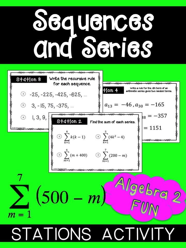 Sequences And Series Stations Activity Sequences And Series Station Activities Sequence And Series Series and sequences worksheets