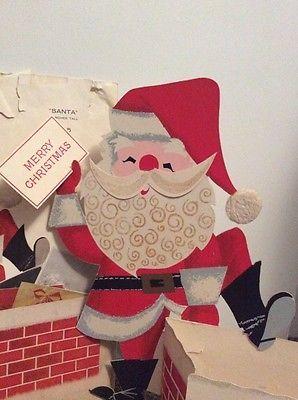 VTG XMAS HALLMARK Greeting Card Santa Chimney Merry Christmas Card Holder