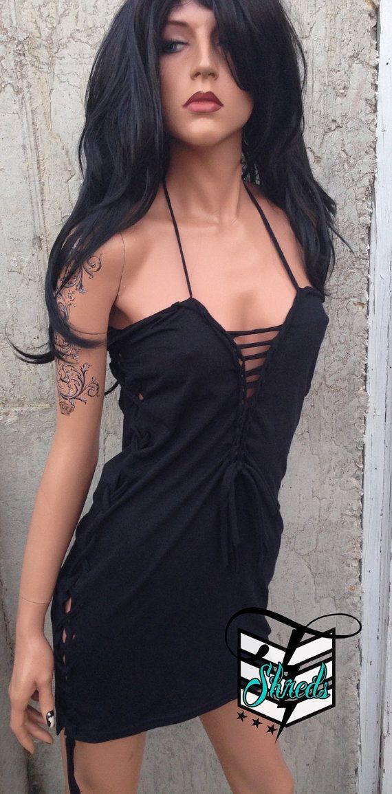 Black Lace Up Sexy Mini Dress Shredded Shirt Tribal by TShreds