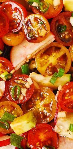 Radish Avocado Salad with Cherry Tomatoes, Cucumber, Green Onions + easy homemade Balsamic Vinaigrette with Garlic. Healthy, Mediterranean recipe