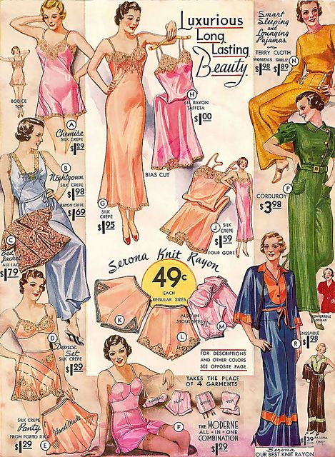 Gorgeous colour ad from 1934 for ladies undergarments.