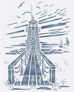 Toile Lighthouse Stencil Coastal Toile de Jouy Stencils