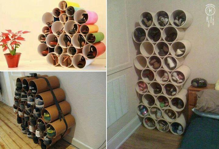 Organizador de zapatos con tubos de pvc en cosas for Cosas para el hogar