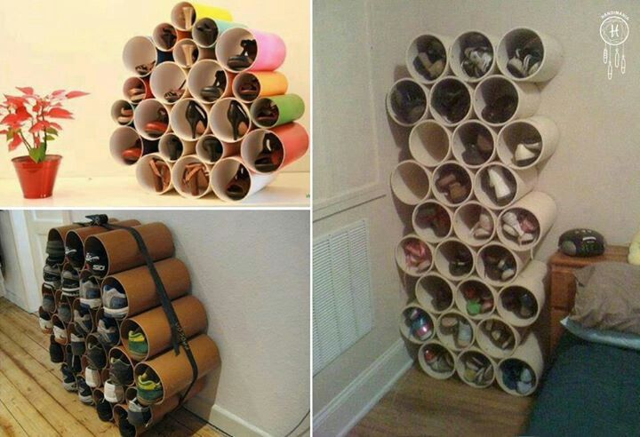 organizador de zapatos con tubos de pvc en cosas