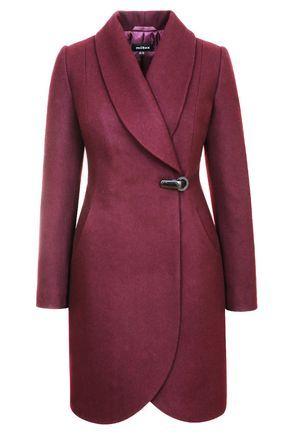 Зимнее пальто приталенное пальто на клипсе, вино. Арт. 356у