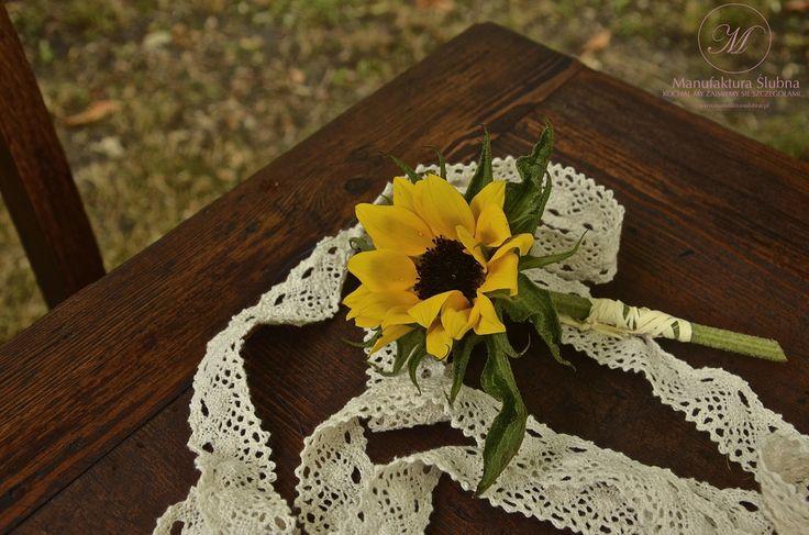 #slonecznik #slubne #kwiaty #butonierka #sunflower #wedding #flower #buttonhole #idyllic #manufakturaslubna