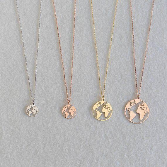 venta minorista Precio reducido gama completa de especificaciones Globe necklace, Rose gold globe necklace, Earth Necklace ...