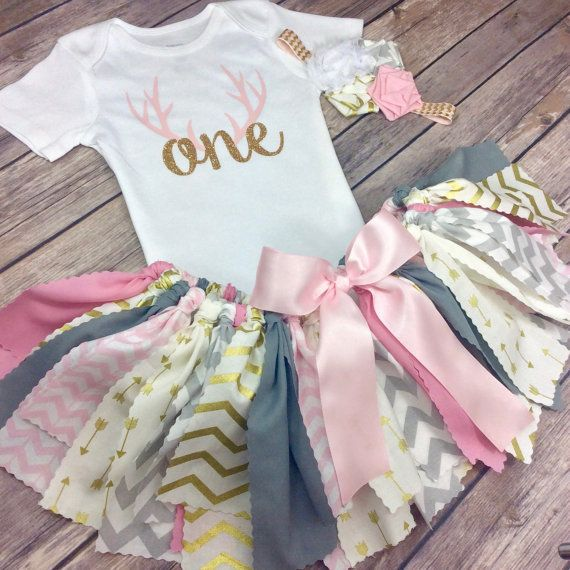 Deer Antler Fabric Tutu Birthday Outfit with Onesie and Headband for Girl in Grey, Pink and Gold with Arrows and Chevron :)  Repin for that special little girl's birthday!