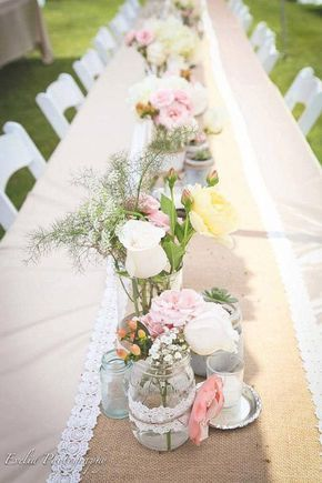 Decoração de mesa de sonho para um casamento vintage, romântico, rosas em pequenas va …   – Deco