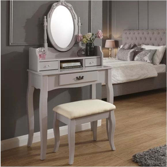 Grey Dressing Table Set Mirror Upholstered Stool Drawers Storage Solid Pine Wood