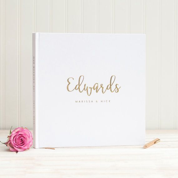 Foil Stamping Book Cover Diy : Wedding guest book in real gold foil guestbook custom