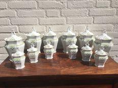 12 stuks aardewerk kruidenpotten met deksels