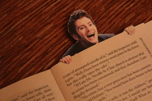 Best bookmark ever! I will do this! (If you look closely, the book is Sherlock Holmes. Wholockians, you make my heart smile.
