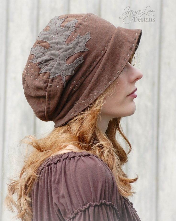 Recycled T-shirt Hat with Oak Leaf