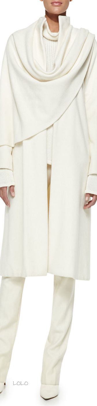 Ralph Lauren Collection Marielle Drape-Panel Coat