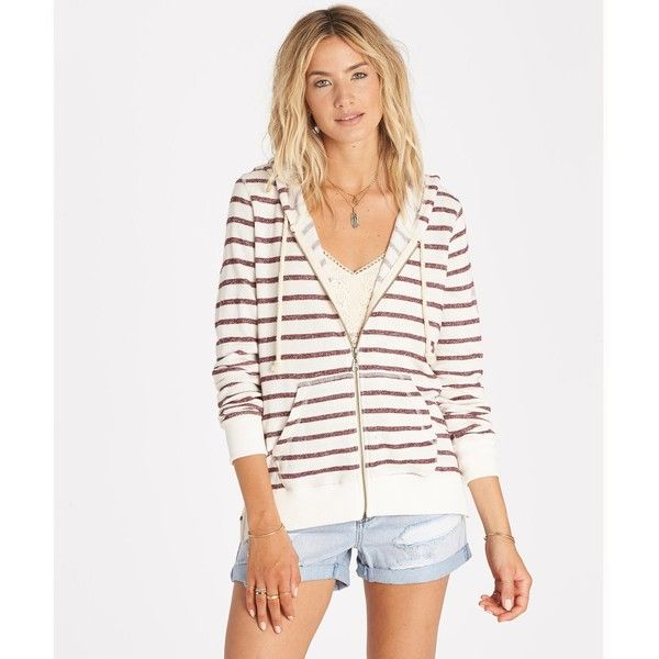 Billabong Women's Setting Sun Fleece Hoodie ($50) ❤ liked on Polyvore featuring tops, hoodies, fleece, white cap, white hoodie, white hooded sweatshirt, white zip up hoodie, zip up hoodies and white zipper hoodie