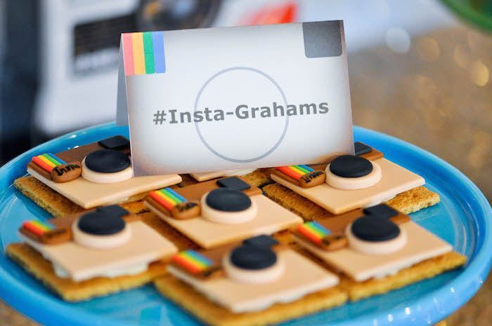 """Loving these creative """"Insta-Grahams"""" at a Glam Instagram Themed Birthday Party"""