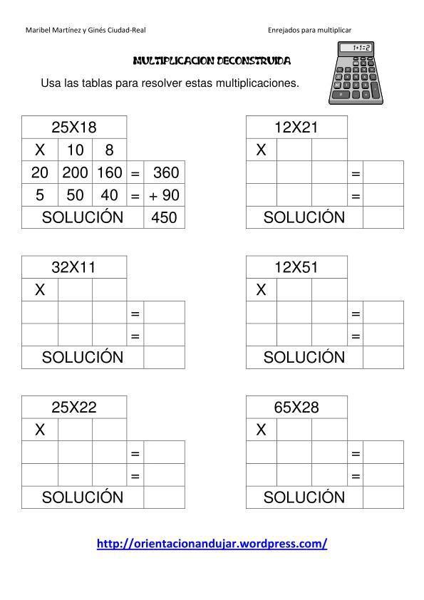 Multiplicacines deconstruidas de dos cifras.