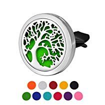 HOUSWEETY Car Air Freshener Aromatherapy Essential Oil Diffuser - Tree of Life Stainless Steel Locket,11 Refill Pads