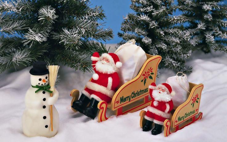 Boże Narodzenie, Choinki, Dekoracje, Bałwan, Mikołaje, Sanie, Śnieg