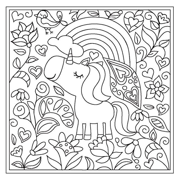 lovely unicorn doodle carpet