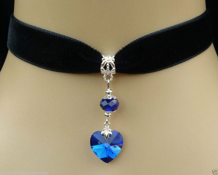 black velvet choker necklace blue glass foil back heart pendant goth