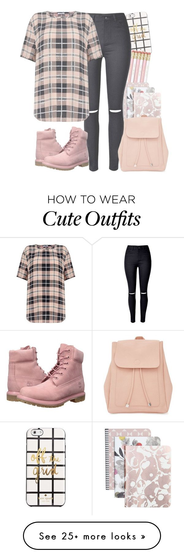 """""""Pink (3)"""" by forever-lover1 on Polyvore featuring Kate Spade, Caroline Gardner, Timberland, Equipment and New Look"""