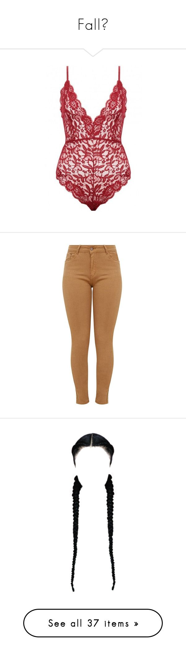 """Fall🍁"" by ilovetrey ❤ liked on Polyvore featuring intimates, shapewear, bodysuit, lingerie, underwear, jeans, bottoms, calças, pants and tan skinny jeans"