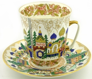 "Vorobievsky Collectible Porcelain: ""Old Russia"" Coffee Cup and Saucer. One of a kind hand painted set of coffee cup and saucer.  Embellished with 22-karat gold.   Made by the Imperial Porcelain Factory of St Petersburg Russia."