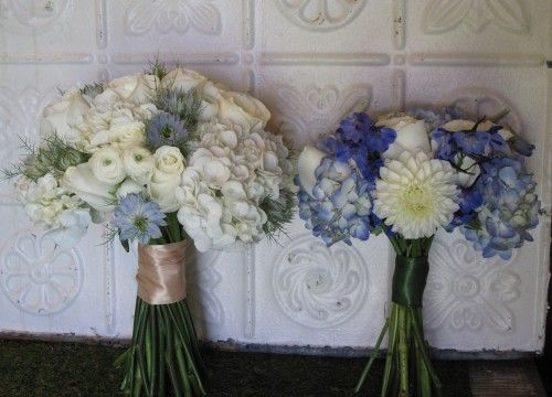 Blue and white bridal bouquet and bridesmaid's bouquet.