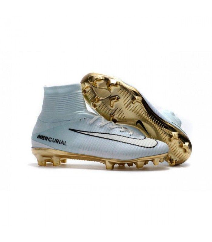 Acheter Chaussure Nike Mercurial Superfly 5 FG pour Hommes CR7 Vitórias Blanc Or Noir pas cher en ligne 124,00€ sur http://cramponsdefootdiscount.com
