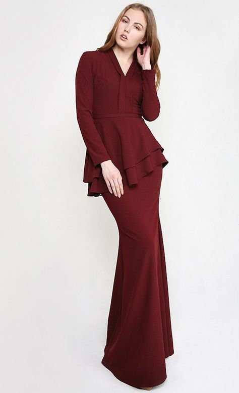 Image result for maroon kurung                                                                                                                                                                                 More