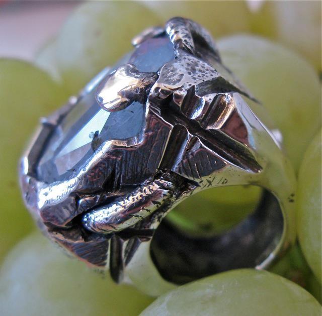 Anello argento rodiato nero e acquamarina #jewels #jewel