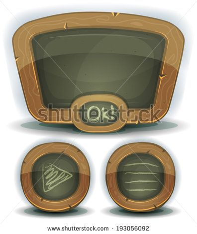 School Chalkboard Icons For Ui Game/ Illustration of a set of design school education blackboard with buttons and interface elements for ui pedagogics software on tablet pc and other devices