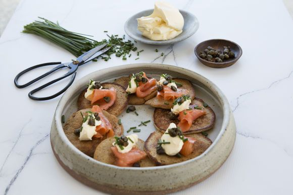 Buckwheat Pancakes with Smoked Salmon and Capers - Maggie Beer