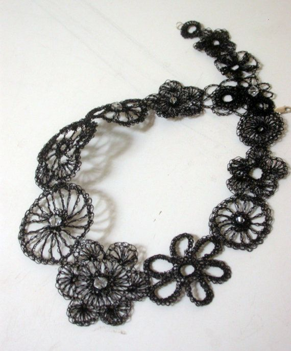 """Raven Wings"", Black wire crocheted asymmetrical necklace by LoopyMagpie"