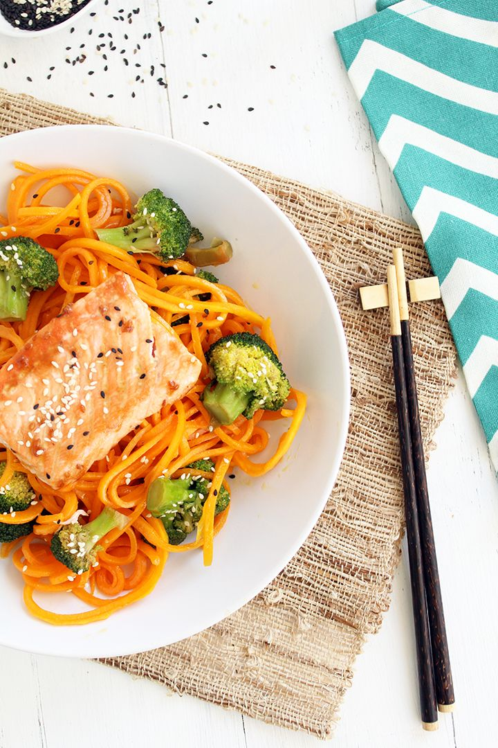 Butternut Squash Soba Noodles with Sesame Broccoli and Baked Salmon