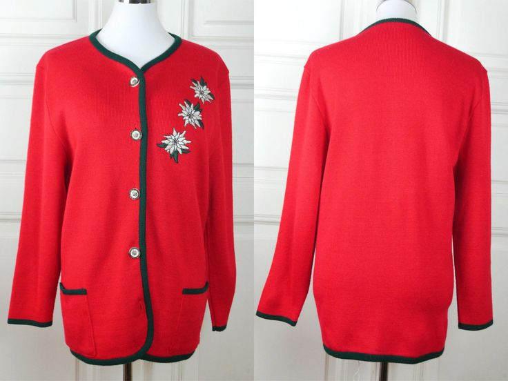 Bavarian Vintage Trachten Cardigan, Red Cotton-Wool Blend European Sweater with Embroidered Edelweiss, German Clothing: Size 14 US, 18 UK by YouLookAmazing on Etsy