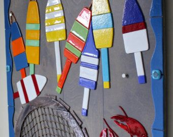 Reservados para SUE: Mosaico de cristal fundido, langosta, boyas, trampa de langosta, Lobster Shack, Fishnet, náutica, mar, océano, mar, Bahía, playa