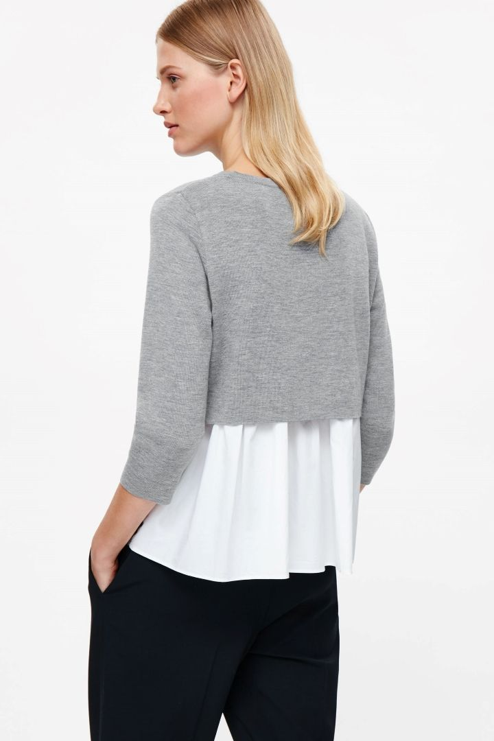 Top with layered back - Grey - Knitwear - COS PL