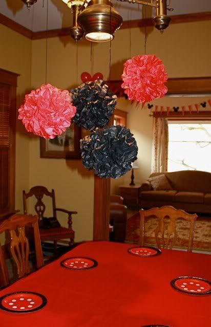 Red & Black Minnie Decorations  - how to make: http://designdazzle.blogspot.com/2012/04/how-to-make-tissue-pom-flowers.html