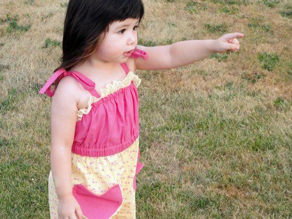 yellow toddlers jumper pink little girls jumper by Erynskidsworld, $28.00