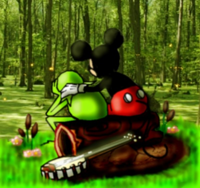 Mickey consoling Kermit after the death of Jim Henson by manyworlds090.deviantart.com