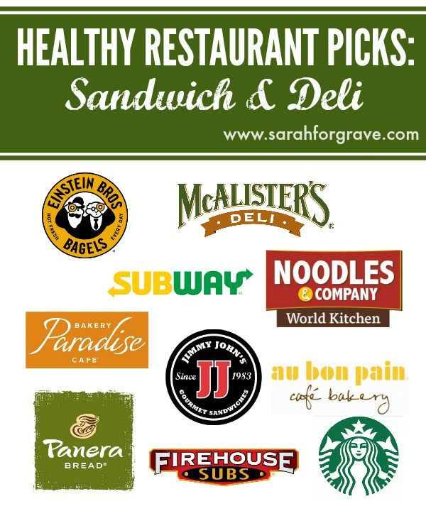 Looking for healthy menu options? Check out these recommended picks at 10 popular sandwich and deli restaurants, including Panera Bread and Jimmy John's.   www.sarahforgrave.com