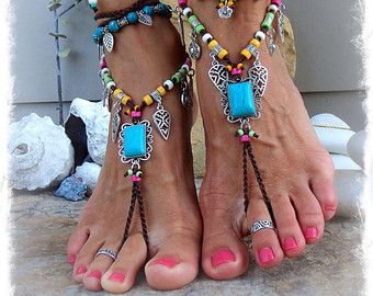 Daisy BAREFOOT Bohemian WEDDING barefoot sandals BROWN by GPyoga
